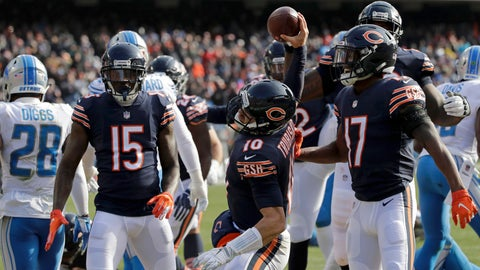 <p>               Chicago Bears quarterback Mitchell Trubisky (10) spikes the ball after rushing for a touchdown during the first half of an NFL football game against the Detroit Lions Sunday, Nov. 11, 2018, in Chicago. (AP Photo/Nam Y. Huh)             </p>
