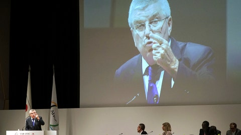 <p>               International Olympic Committee (IOC) President Thomas Bach delivers a speech during the Association of National Olympic Committees (ANOC) general assembly in Tokyo Thursday, Nov. 29, 2018. (AP Photo/Eugene Hoshiko)             </p>