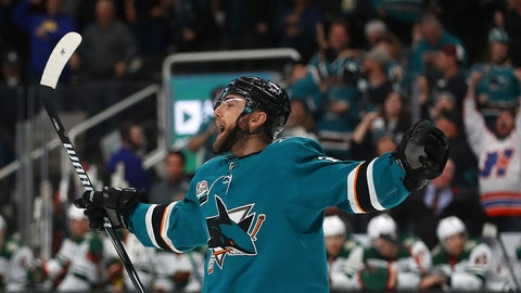 <p>               San Jose Sharks' Barclay Goodrow celebrates after scoring a goal against the Minnesota Wild during the third period of an NHL hockey game Tuesday, Nov. 6, 2018, in San Jose, Calif. (AP Photo/Ben Margot)             </p>