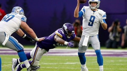 <p>               Detroit Lions quarterback Matthew Stafford (9) is sacked by Minnesota Vikings defensive tackle Tom Johnson during the second half of an NFL football game, Sunday, Nov. 4, 2018, in Minneapolis. (AP Photo/Jim Mone)             </p>
