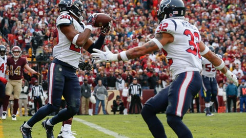 <p>               Houston Texans strong safety Justin Reid (20) intercepts a pass and runs 102 yards for a touchdown during the first half of an NFL football game against the Washington Redskins, Sunday, Nov. 18, 2018, in Landover, Md. (AP Photo/Alex Brandon)             </p>