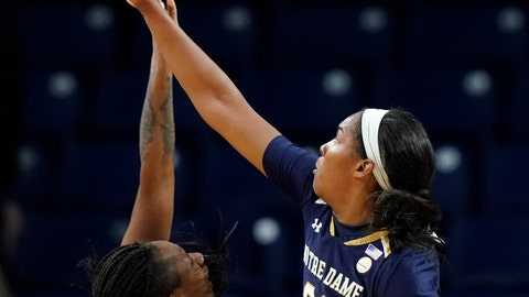 <p>               DePaul's Tanita Allen, left, has her shot blocked by Notre Dame's Danielle Patterson during the second half of an NCAA college basketball game Saturday, Nov. 17, 2018, in Chicago. (AP Photo/Jim Young)             </p>