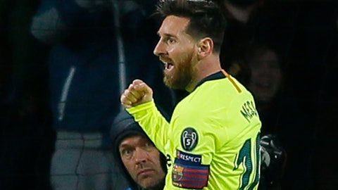 <p>               Barcelona forward Lionel Messi celebrates scoring his side's first goal during a Group B Champions League soccer match between PSV Eindhoven and Barcelona at the Philips stadium in Eindhoven, Netherlands, Wednesday, Nov. 28, 2018. (AP Photo/Peter Dejong)             </p>