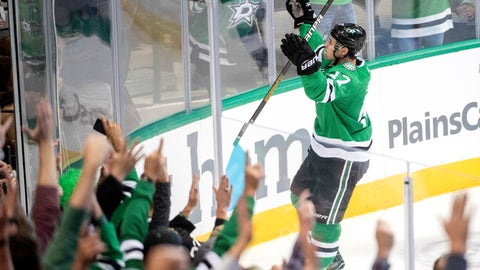 <p>               Dallas Stars center Devin Shore celebrates his second goal against the San Jose Sharks, during the third period of an NHL hockey game Thursday, Nov. 8, 2018, in Dallas. Dallas won 4-3. (AP Photo/Jeffrey McWhorter)             </p>
