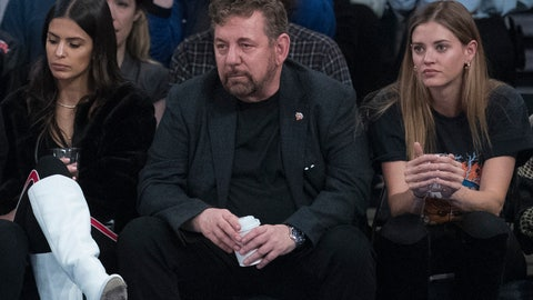 <p>               FILE - In this Oct. 20, 2018, file photo, Madison Square Garden chairman James Dolan, center, watches an NBA basketball game between the New York Knicks and the Boston Celtics at Madison Square Garden in New York. It's been a year since Dolan announced his intent to sell the New York Liberty, and the team is still on the market. There have been several potential buyers and a few have gotten close to purchasing the team, but for various reasons all the potential deals fell through. Even without a new owner on the horizon and the Liberty in the same situation as last November, there is no danger of the team ceasing to exist this winter. (AP Photo/Mary Altaffer, File)             </p>