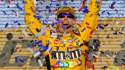 <p>               Kyle Busch celebrates after winning a NASCAR Cup Series auto race on Sunday, Nov. 11, 2018, in Avondale, Ariz. (AP Photo/Rick Scuteri)             </p>