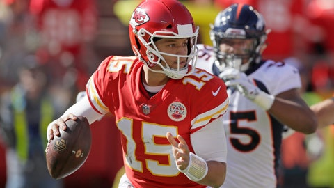 <p>               FILE - In this Sunday, Oct. 28, 2018, file photo, Kansas City Chiefs quarterback Patrick Mahomes (15) looks for a receiver during the first half of an NFL football game against the Denver Broncos in Kansas City, Mo. The Chiefs' Patrick Mahomes and Cleveland Browns Baker Mayfield will meet on the field as pros for the first time Sunday. Two years ago, the pair squared off in college and combined for more than 1,700 yards. (AP Photo/Orlin Wagner, File)             </p>