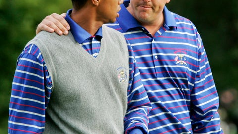 <p>               FILE - In this Sept. 17, 2004, file photo, U.S. team player Phil Mickelson puts his arm around partner Tiger Woods as they walk off the 18th green after they lost to Europeans Darren Clarke and Lee Westwood on the final hole of their foursomes match at the 35th Ryder Cup at Oakland Hills Country Club in Bloomfield Township, Mich. They play a high-stakes exhibition Friday in Las Vegas in golf's first venture using pay-per-view. (AP Photo/Dave Martin, File)             </p>