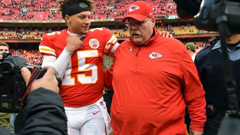 <p>               FILE - In this Nov. 11, 2018, file photo, Kansas City Chiefs quarterback Patrick Mahomes (15) walks off the field with Kansas City Chiefs head coach Andy Reid following an NFL football game against the Arizona Cardinals in Kansas City, Mo. It has been a whirlwind first 11 weeks for the Kansas City Chiefs, filled with record-setting performances, high-scoring losses and the emergence of first-year starter Patrick Mahomes as one of the brightest young quarterbacks in the NFL. It's also been an exhausting 11 weeks. And a pause is coming at a good time. (AP Photo/Ed Zurga, File)             </p>