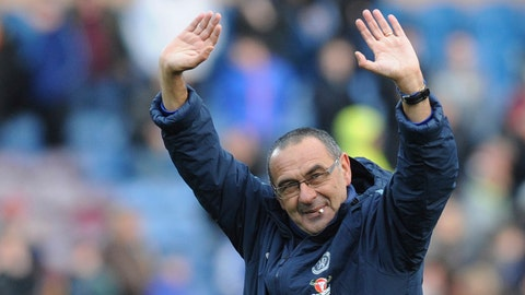 <p>               FILE - In this file photo dated Sunday, Oct. 28, 2018, Chelsea's manager Maurizio Sarri waves after the English Premier League soccer match against Burnley at Turf Moor stadium in Burnley, England. Chelsea faces the toughest test when the Premier League resumes upcoming Saturday Nov. 24, 2018, as Maurizio Sarri's side is away to fourth-place Tottenham in the standout match of the 13th round.(AP Photo/Rui Vieira, FILE)             </p>
