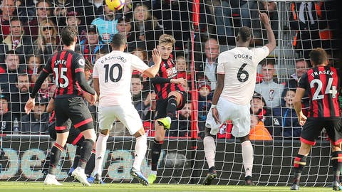 <p>               Bournemouth's David Brooks clears a shot from Manchester United's Marcus Rashford off the line during the English Premier League soccer match between Bournemouth and Manchester United at The Vitality Stadium, Bournemouth, England.Saturday Nov. 3, 2018. (Mark Kerton/PA via AP)             </p>