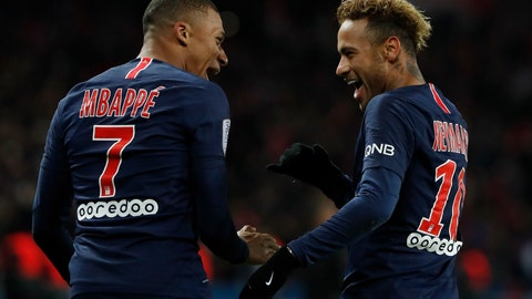 <p>               PSG's Kylian Mbappe, left, reacts with PSG's Neymar, celebrating after he scored his side's second goal during the League One soccer match between Paris Saint-Germain and Lille at the Parc des Princes stadium in Paris, Friday, Nov. 2, 2018. (AP Photo/Thibault Camus)             </p>