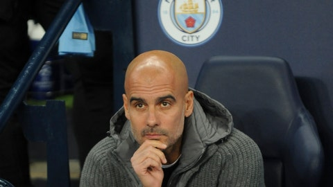 <p>               Manchester City coach Pep Guardiola looks on before the Champions League Group F soccer match between Manchester City and Shakhtar Donetsk at Etihad stadium in Manchester, England, Wednesday, Nov. 7, 2018. (AP Photo/Rui Vieira)             </p>