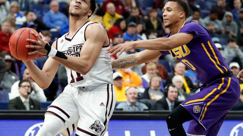 <p>               FILE - In this Thursday, March 8, 2018 file photo, Mississippi State's Quinndary Weatherspoon (11) heads to the basket past LSU's Brandon Sampson during the second half in an NCAA college basketball game at the Southeastern Conference tournament in St. Louis. One look at the preseason rankings provides evidence that next season's NCAA Tournament could feature plenty of new faces. The Top 25 includes four teams that failed to reach last year's NCAA Tournament: No. 14 Oregon, No. 18 Mississippi State, No. 23 LSU and No. 25 Washington. (AP Photo/Jeff Roberson, File)             </p>