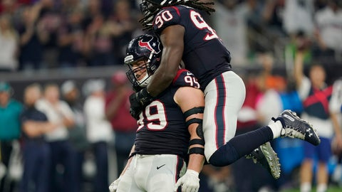 <p>               FILE- In this Oct. 7, 2018, file photo Houston Texans defensive end J.J. Watt (99) and linebacker Jadeveon Clowney (90) celebrate a stop against the Dallas Cowboys during the second half of an NFL football game in Houston. The Cleveland Browns have done a great job of protecting Baker Mayfield recently, and haven't allowed a sack in 125 snaps, the longest active streak in the NFL. Things will get more difficult for the Browns (4-6-1) on Sunday, Dec. 2, 2018 when they visit the Texans (8-3) and their defense led by Watt and Clowney. Watt is tied for second in the NFL with 11 1/2 sacks and Clowney has seven. (AP Photo/David J. Phillip, File)             </p>