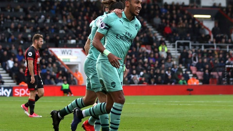 <p>               Arsenal's Pierre-Emerick Aubameyang celebrates scoring his side's second goal of the game against Bournemouth during their English Premier League soccer match at The Vitality Stadium in Bournemouth, England, Sunday Nov. 25, 2018. (John Walton/PA via AP)             </p>