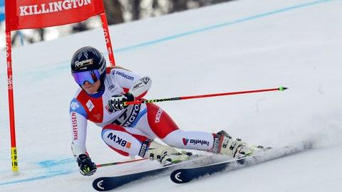 <p>               Switzerland's Lara Gut competes during the first run of the alpine ski, women's World Cup giant slalom in Killington, Vt., Saturday, Nov. 24, 2018. (AP Photo/Charles Krupa)             </p>