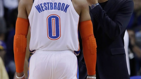 <p>               Oklahoma City Thunder guard Russell Westbrook (0) talks with Golden State Warriors guard Stephen Curry during the first half of an NBA basketball game in Oakland, Calif., Wednesday, Nov. 21, 2018. (AP Photo/Jeff Chiu)             </p>