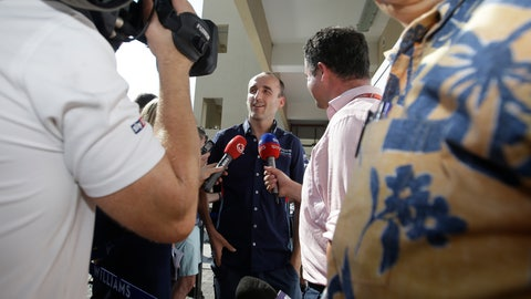 <p>               Driver Robert Kubica answers to reporters at the Yas Marina racetrack in Abu Dhabi, United Arab Emirates, Thursday, Nov. 22, 2018. The Emirates Formula One Grand Prix will take place on Sunday. Robert Kubica will make his return to Formula One next year with the Williams team.(AP Photo/Luca Bruno)             </p>