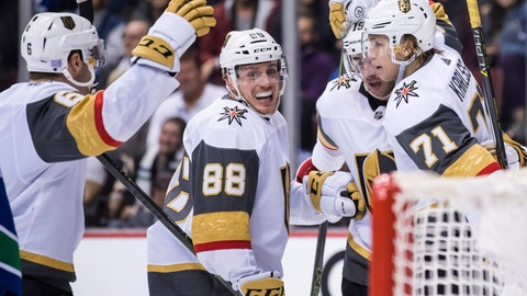 <p>               Vegas Golden Knights' Colin Miller, Nate Schmidt, Reilly Smith and William Karlsson, of Sweden, from left, celebrate Karlsson's goal against the Vancouver Canucks during the third period of an NHL hockey game Thursday, Nov. 29, 2018, in Vancouver, British Columbia. (Darryl Dyck/The Canadian Press via AP)             </p>