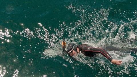 <p>               In this undated photo provided on Nov. 26, 2018, by Seeker, Ben Lecomte swims in the Pacific Ocean. (Seeker via AP)             </p>