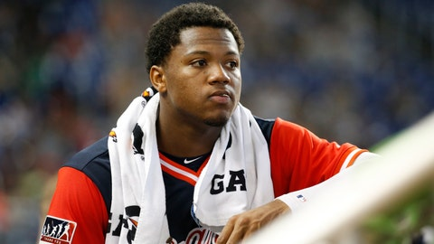 <p>               In this Aug. 26, 2018 photo Atlanta Braves left fielder Ronald Acuna Jr. looks out of the dugout during the fourth inning of a baseball game against the Miami Marlins in Miami. Acuna Jr. was a runaway pick for the NL  Rookie of the Year over Washington outfielder Juan Soto in a contest between 20-year-olds. He received 27 first-place votes and three seconds for 144 points. (AP Photo/Wilfredo Lee)             </p>
