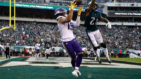 <p>               FILE - In this Oct. 7, 2018, file photo, Minnesota Vikings' Adam Thielen (19) catches a touchdown pass as Philadelphia Eagles' Ronald Darby (21) defends during the first half of an NFL football game in Philadelphia. Thielen is doing things even Hall of Famers Cris Carter and Randy Moss didn't accomplish in Minnesota. The undrafted wide receiver from NCAA Division II Minnesota State is the first player in NFL history with at least 100 yards receiving in eight straight games to start the season. Calvin Johnson also had an eight-game streak in 2012. (AP Photo/Matt Rourke, File)             </p>