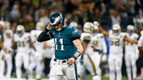 <p>               Philadelphia Eagles quarterback Carson Wentz (11) walks off the field after turning the ball over on downs in the second half of an NFL football game against the New Orleans Saints in New Orleans, Sunday, Nov. 18, 2018. (AP Photo/Butch Dill)             </p>