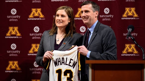 <p>               FILE - In this April 13, 2018, file photo, Lindsay Whalen, Minnesota new women's basketball coach, holds up a team jersey alongside athletic director Mark Coyle during an NCAA college basketball news conference at Williams Arena in Minneapolis. The Minnesota women's basketball team has sold out the home opener, a clear sign of the buzz surrounding the program following the hire of the beloved Lindsay Whalen as head coach. (Aaron Lavinsky/Star Tribune via AP, File)             </p>