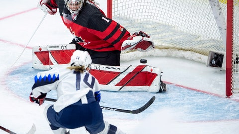 <p>               U.S. forward Brianna Decker scores on Canada goaltender Shannon Szabados during the second period of the Four Nations Cup hockey gold-medal game in Saskatoon, Saskatchewan, Saturday, Nov. 10, 2018. (Liam Richards/The Canadian Press via AP)             </p>