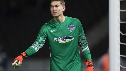 <p>               FILE - In this Dec. 7, 2017, file photo, Hertha goalkeeper Jonathan Klinsmann gestures during the Europa League Group J soccer match between Hertha BSC and Ostersunds FK in Berlin, Germany. Jonathan Klinsmann, the son of former American coach Jurgen Klinsmann, has been added to the U.S. roster for exhibition games against England and Italy and could make his national team debut.(AP Photo/Michael Sohn, File)             </p>
