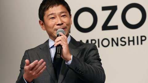 "<p>               ZOZO Inc. President Yusaku Maezawa speaks during a press conference on the PGA Tour in Tokyo, Tuesday, Nov. 20, 2018. The PGA Tour will hold its first official tournament, the Zozo Championship, in Japan. And the main sponsor of next year's event, Japanese billionaire Maezawa, is calling the tournament a kind of ""moonshot"" for golf in his country. Maezawa was announced earlier this year as the first commercial passenger to attempt a flyby around the moon. (AP Photo/Koji Sasahara)             </p>"