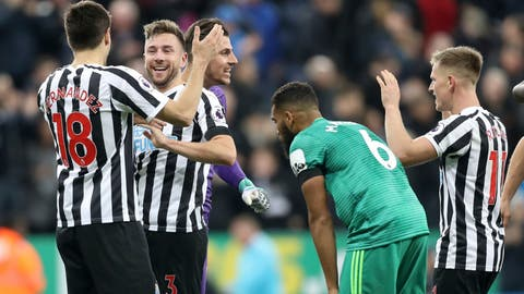 <p>               Newcastle Unitedplayers celebrate after the final whistle of the English Premier League soccer match between Newcastle United and Watford Town at St James Park stadium, Newcastle, England. Saturday Nov. 3 2018 (Owen Humphreys/PA via AP)             </p>