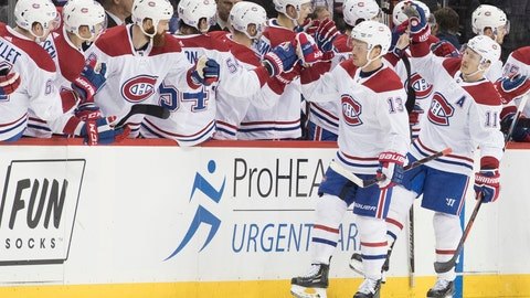 <p>               Montreal Canadiens left wing Max Domi (13) celebrates after scoring a goal in the second period of an NHL hockey game against the New York Islanders, Monday, Nov. 5, 2018, in New York. (AP Photo/Mary Altaffer)             </p>