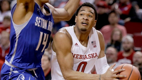 <p>               Nebraska's James Palmer Jr. (0) tries to get around Seton Hall's Jared Rhoden (14) during the second half of an NCAA college basketball game in Lincoln, Neb., Wednesday, Nov. 14, 2018. Nebraska won 80-57. (AP Photo/Nati Harnik)             </p>