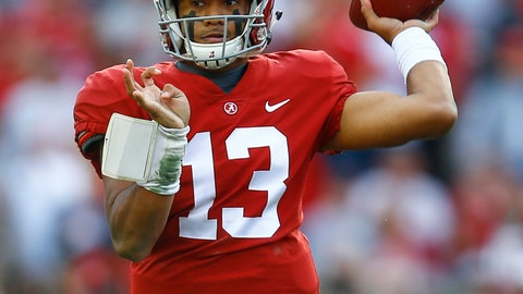 <p>               Alabama quarterback Tua Tagovailoa (13) throws a pass during the first half of an NCAA college football game against Auburn, Saturday, Nov. 24, 2018, in Tuscaloosa, Ala. (AP Photo/Butch Dill)             </p>
