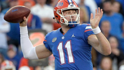 <p>               FILE - In this Nov. 3, 2018, file photo, Florida quarterback Kyle Trask throws a pass during the second half of an NCAA college football game against Missouri in Gainesville, Fla. The father of Florida quarterback Kyle Trask says his son is out for the season because of a broken foot. Michael Trask posted on Facebook that Kyle fractured a foot practicing a trick play Wednesday, Nov. 7, 2018. (AP Photo/Phelan M. Ebenhack)             </p>