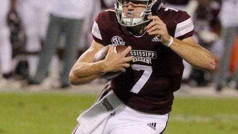 <p>               Mississippi State quarterback Nick Fitzgerald (7) looks for running room during the first half of an NCAA college football game against Louisiana Tech, Saturday, Nov. 3, 2018, in Starkville, Miss. (AP Photo/Jim Lytle)             </p>