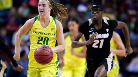 <p>               FILE - In this Friday, March 2, 2018 file photo, Oregon's Sabrina Ionescu (20) drives down the court ahead of Colorado's Mya Hollingshed, right, during the first half of an NCAA college basketball game in the quarterfinals of the Pac-12 Conference women's tournament in Seattle. (AP Photo/Ted S. Warren, File)             </p>