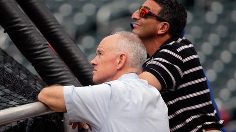 <p>               FILE - In this Aug. 10, 2015, file photo, New York Mets general manager Sandy Alderson, left, and his special assistant, J.P. Ricciardi, watch batting practice before a baseball game in New York. Ricciardi is leaving the New York Mets after eight seasons. (AP Photo/Julie Jacobson, File)             </p>