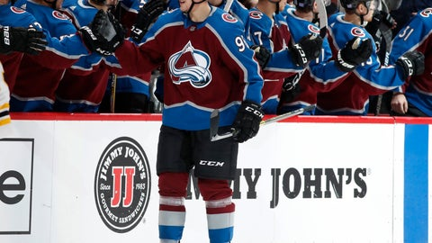 <p>               Colorado Avalanche right wing Mikko Rantanen is congratulated for his goal as he passes the team box during the second period of an NHL hockey game against the Boston Bruins on Wednesday, Nov. 14, 2018, in Denver. (AP Photo/David Zalubowski)             </p>