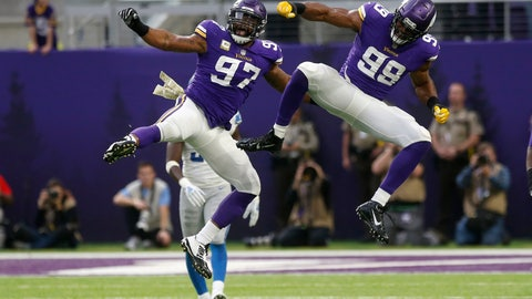 <p>               Minnesota Vikings defensive end Danielle Hunter (99) celebrates with teammate Everson Griffen (97) after sacking Detroit Lions quarterback Matthew Stafford during the first half of an NFL football game, Sunday, Nov. 4, 2018, in Minneapolis. (AP Photo/Jim Mone)             </p>
