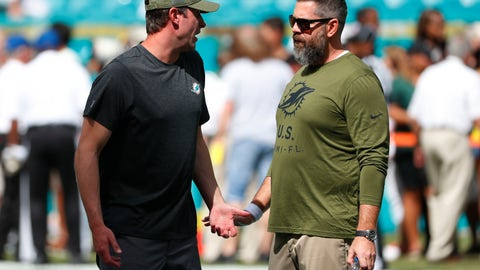 <p>               FILE - In this Nov. 4, 2018, file photo, Miami Dolphins coach Adam Gase, left, talks to defensive coordinator Matt Burke before the team's NFL football game against the New York Jets in Miami Gardens, Fla. Dolphins' Reshad Jones mysteriously took himself out of last week's win over the Jets and watched the second half from the sideline. In the aftermath, Gase said communication problems between Burke and players needed to be addressed. (AP Photo/Wilfredo Lee, File)             </p>