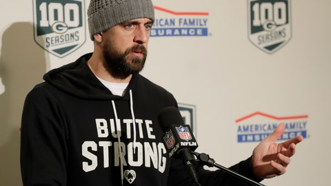 "<p>               Green Bay Packers quarterback Aaron Rodgers wears a sweatshirt that reads ""Butte Strong"" in support of the victims of the Camp Fire in Butte County, Calif., as he talks to reporters following the Packers' NFL football game against the Seattle Seahawks, Thursday, Nov. 15, 2018, in Seattle. The Seahawks won 27-24. (AP Photo/Stephen Brashear)             </p>"