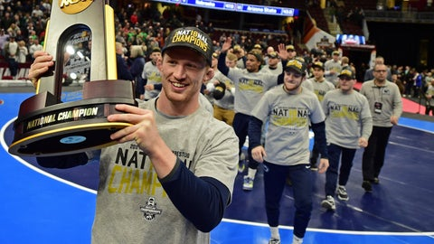 <p>               FILE - In this March 17, 2018, file photo, Penn State's Bo Nickel celebrates with the trophy after Penn State won the NCAA Division I Wrestling Championships in Cleveland. The Penn State wrestling team has become arguably the top program in all of college sports, winning seven national titles in the last eight seasons.  (AP Photo/David Dermer, File)             </p>