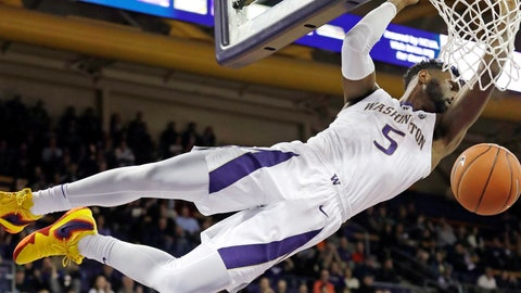 <p>               Washington's Jaylen Nowell dunks the ball against Eastern Washington in the first half of an NCAA college basketball game Tuesday, Nov. 27, 2018, in Seattle. (AP Photo/Elaine Thompson)             </p>