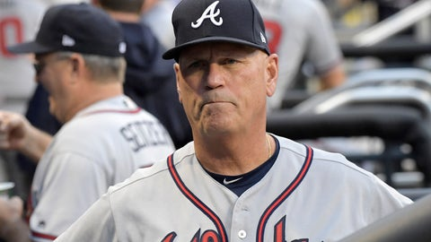 <p>               FILE - In this Friday, Aug. 3, 2018 file photo, Atlanta Braves manager Brian Snitker looks on from the dugout before a baseball game against the New York Mets in New York. Atlanta's Brian Snitker has been voted National League Manager of the Year after leading the Braves to a surprising first-place finish. Snitker received 17 first-place votes, nine seconds and one third for 116 points from the Baseball Writers' Association of America in balloting announced Tuesday, Nov. 13, 2018.(AP Photo/Bill Kostroun, File)             </p>