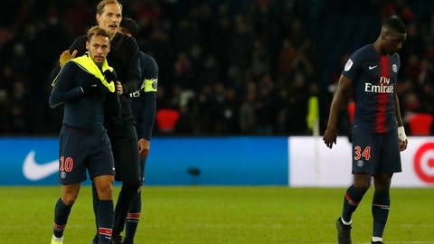 <p>               PSG's coach Thomas Tuchel congratulates PSG's Neymar, left, after winning the League One soccer match between Paris Saint-Germain and Lille 2-1 at the Parc des Princes stadium in Paris, Friday, Nov. 2, 2018. (AP Photo/Thibault Camus)             </p>