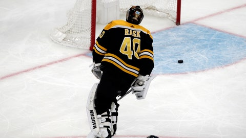 <p>               Boston Bruins goaltender Tuukka Rask (40) skates back to the net after a goal by Vancouver Canucks center Bo Horvat during the third period of an NHL hockey game Thursday, Nov. 8, 2018, in Boston. The Canucks won 8-5. (AP Photo/Elise Amendola)             </p>