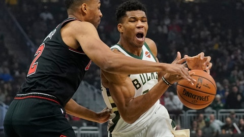 <p>               Milwaukee Bucks' Giannis Antetokounmpo drives against Chicago Bulls' Jabari Parker during the first half of an NBA basketball game Wednesday, Nov. 28, 2018, in Milwaukee. (AP Photo/Morry Gash)             </p>